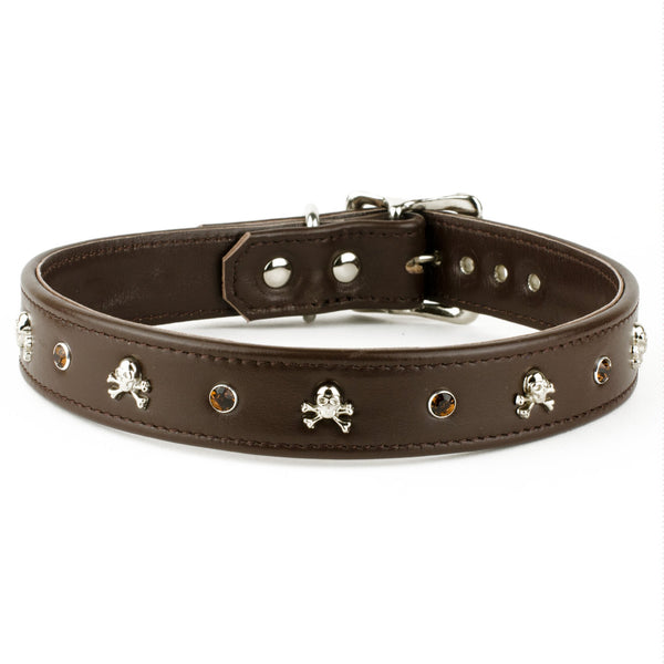 Ahoy There Swarovski Crystal Brown Leather Dog Collar