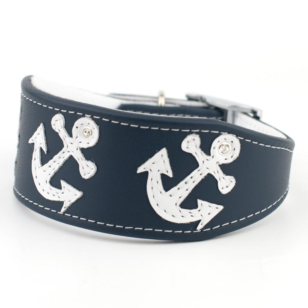Anchors Away Leather Dog Collar Greyhound Lurcher Collar