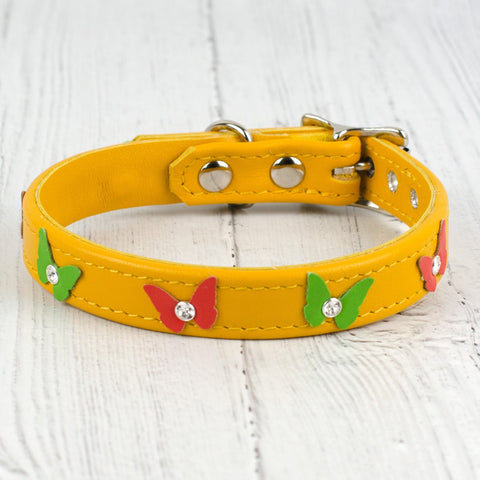 Kaleidoscope Butterfly Leather Dog Collar