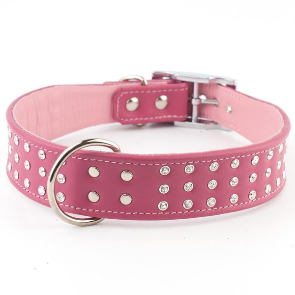Wide Boy Collar - Bright as Broadway Crystal Leather Dog Collar