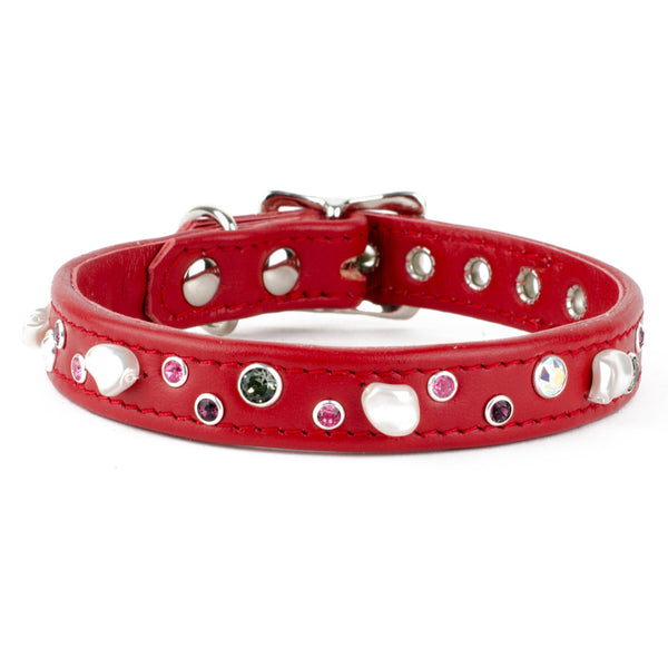 Crystal & Pearl Leather Dog Collar
