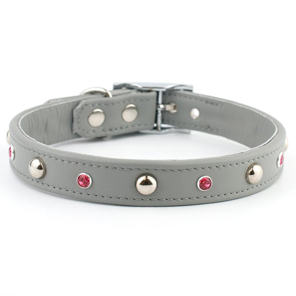 Domed Delight Swarovski Leather Dog Collar