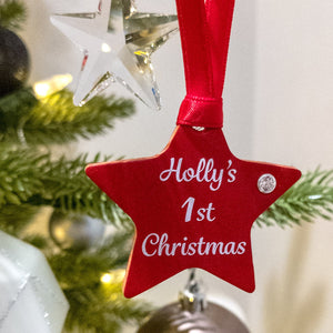 First Christmas Personalised Star Tree Decoration