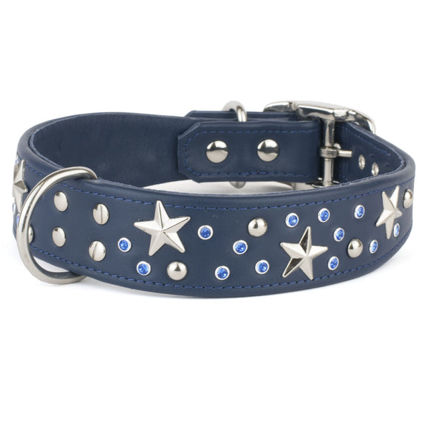 Wide Boy Collar - Heavens Above Crystal Leather Dog Collar