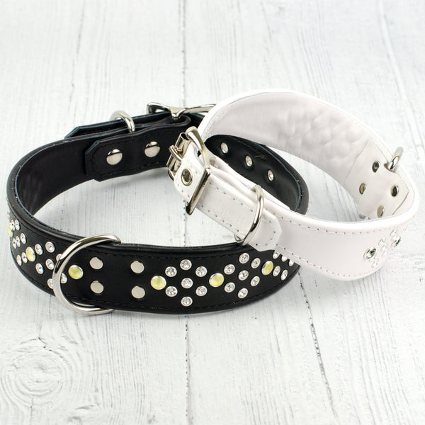 Wide Boy Collar - Honeycomb Crystal Leather Dog Collar