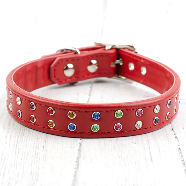 Over the Rainbow Crystal Dog Collar