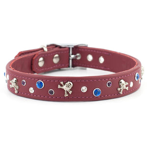 Pillage & Plunder Swarovski Crystal Leather Dog Collar