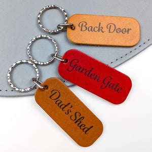 Custom Text Leather Keyring