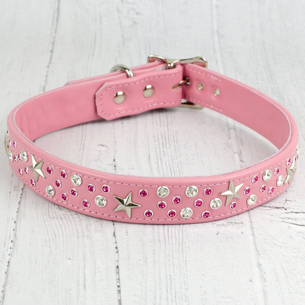 Starstruck Swarovski Crystal Leather Dog Collar