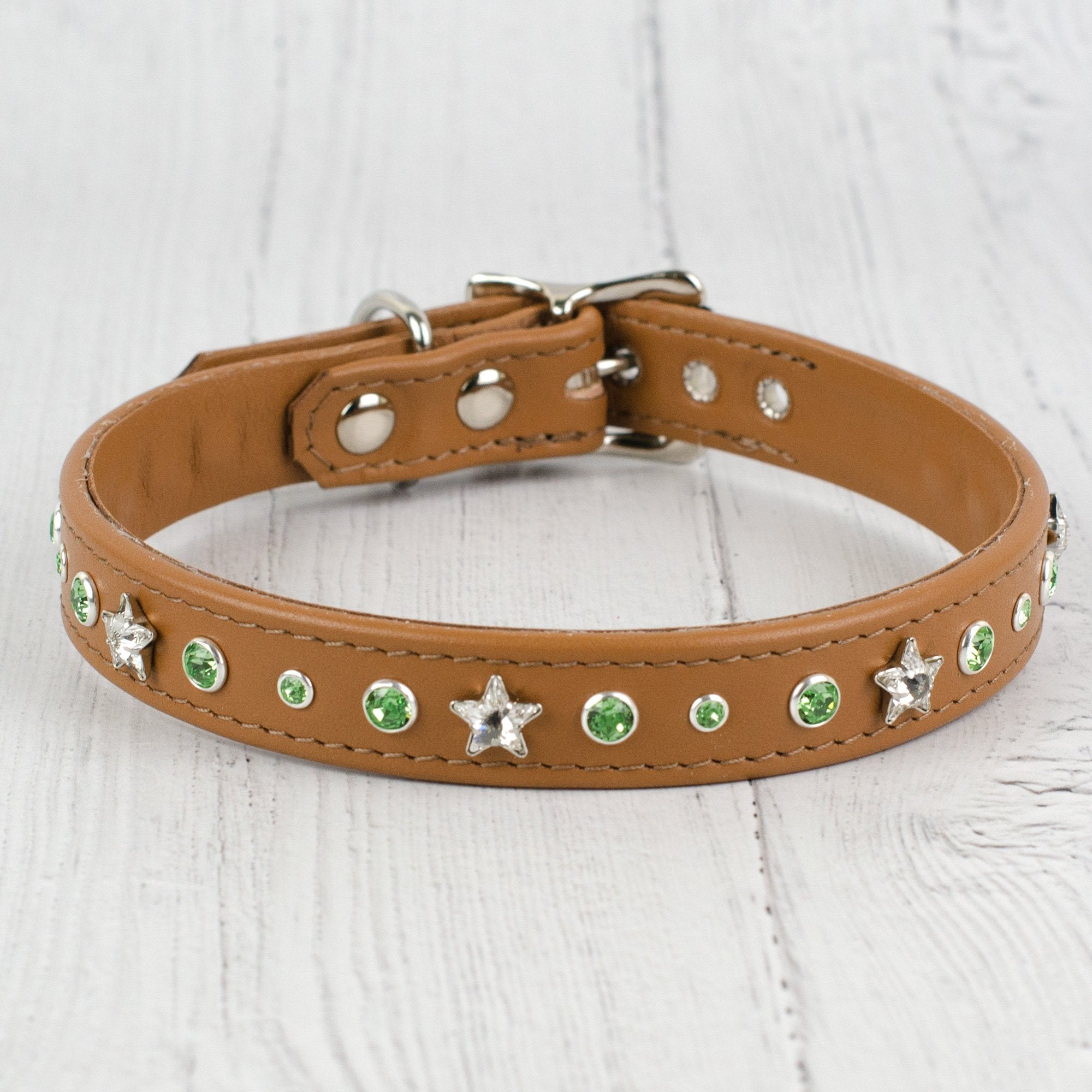 Starburst Crystal Leather Dog Collar