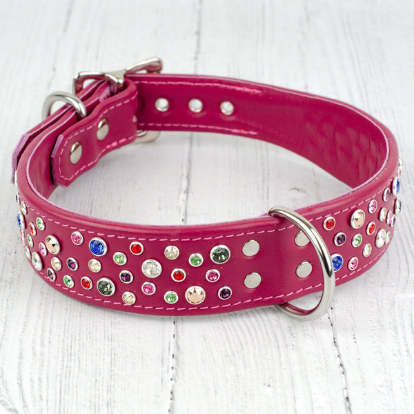 Wide Boy Collar - Total Chaos Crystal Leather Dog Collar