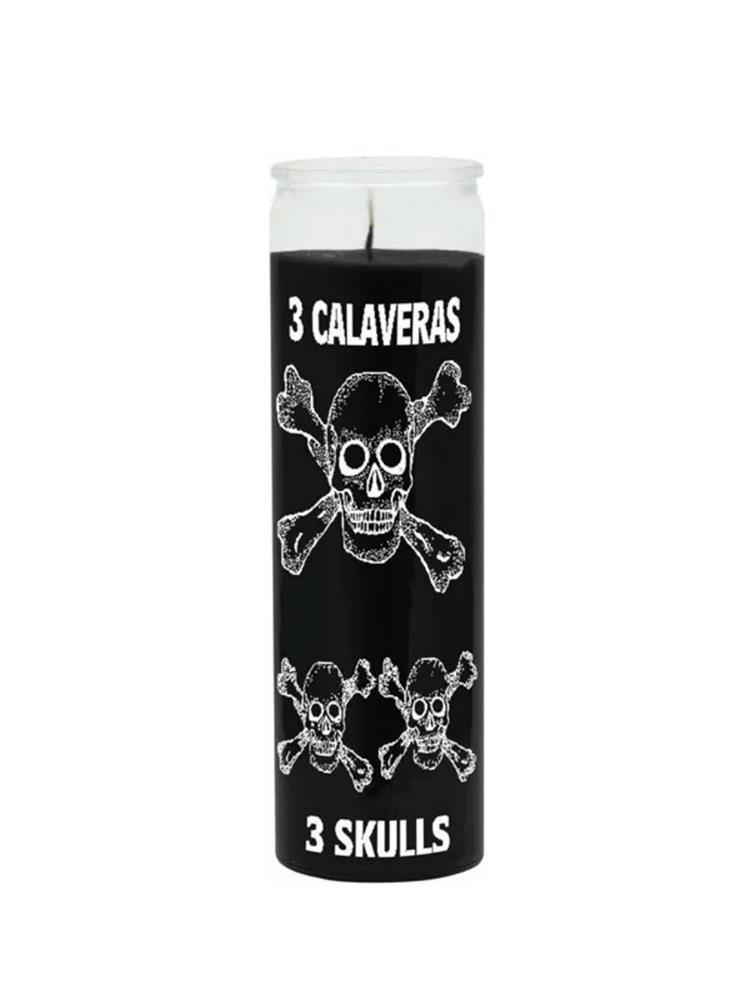 BLACK MAGIC CANDLE THREE SKULLS