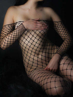 BODYSTOCKING FENCE NET CROTCHLESS BLACK