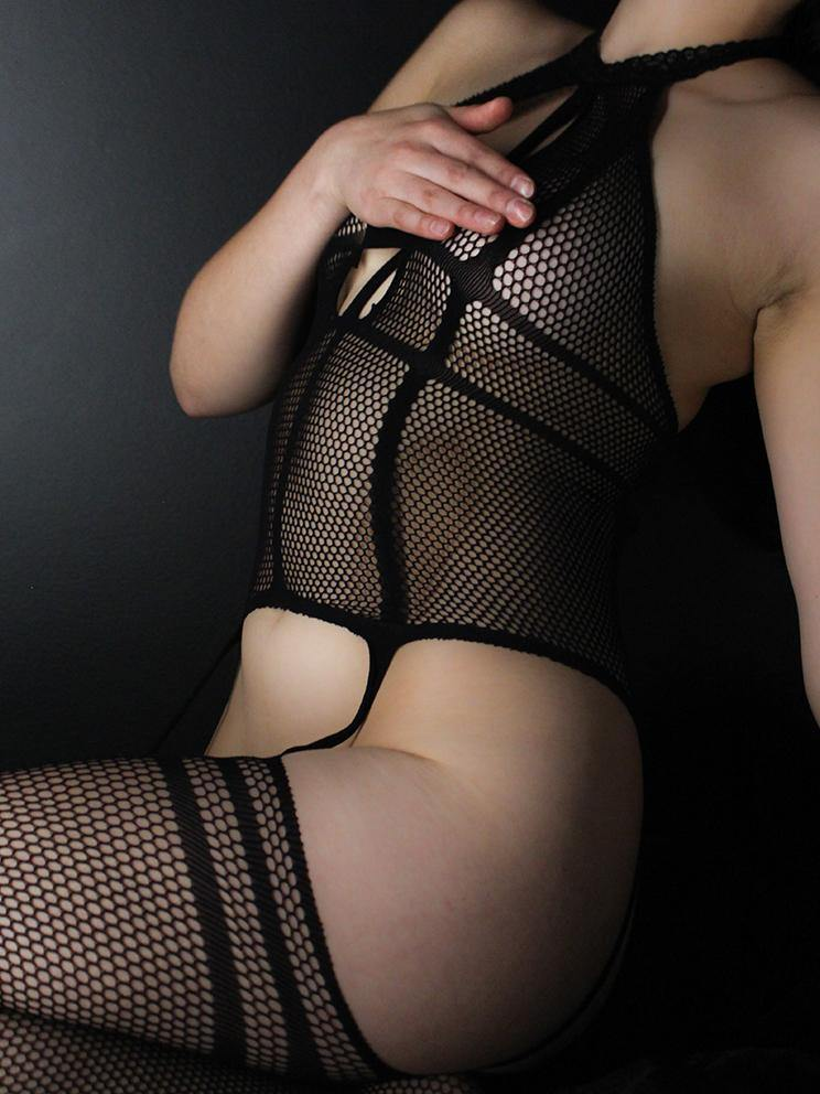 BODYSTOCKING SUSPENDER HALTER FISHNET BLACK