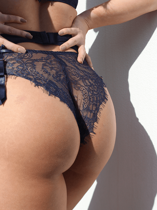 DOLCE LACE BACK KNICKER NAVY