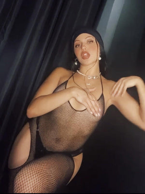BODYSTOCKING CUT OUT HALTER FISHNET BLACK