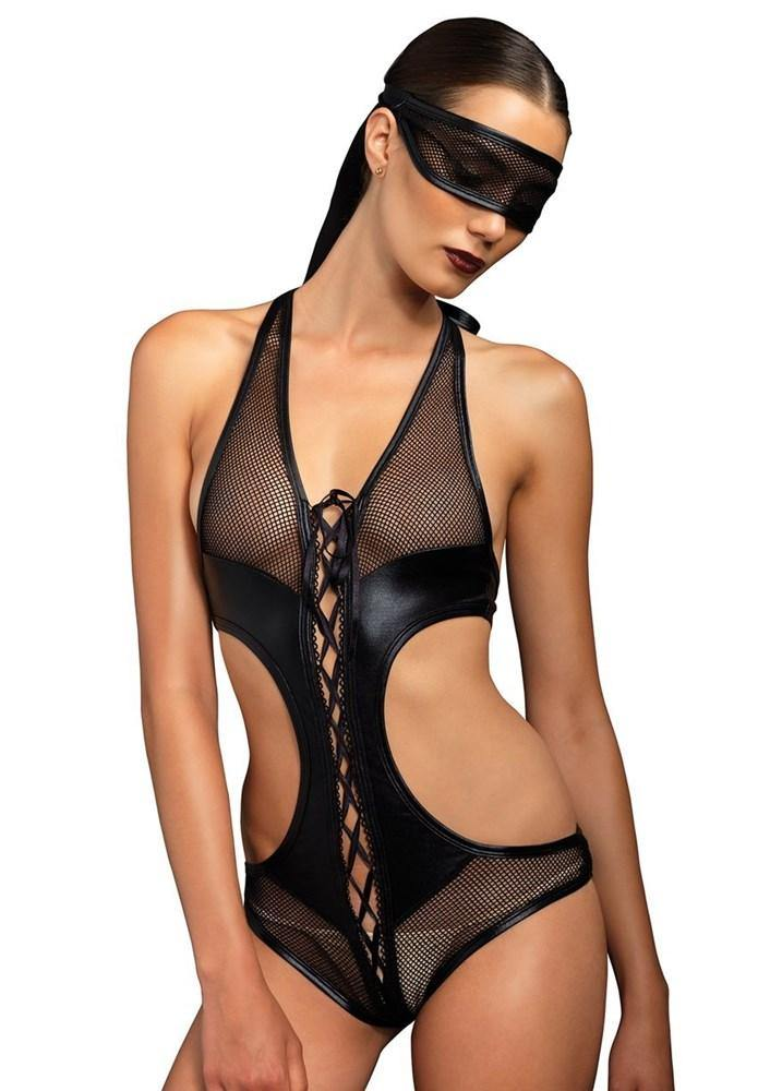 Lace Up Crotchless Bondage Teddy 2PC Set