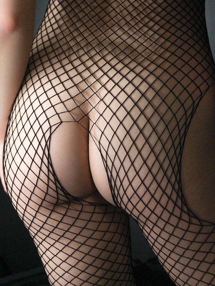 BODYSTOCKING CROTCHLESS FISHNET BLACK
