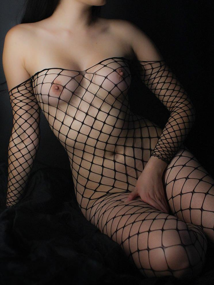 BODYSTOCKING CROTCHLESS LARGE FISHNET BLACK