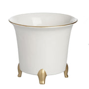 Cachepot, White and Gold, Large