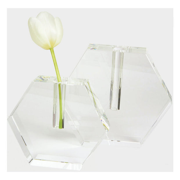 Crystal Hex Flat Bud Vase- Small