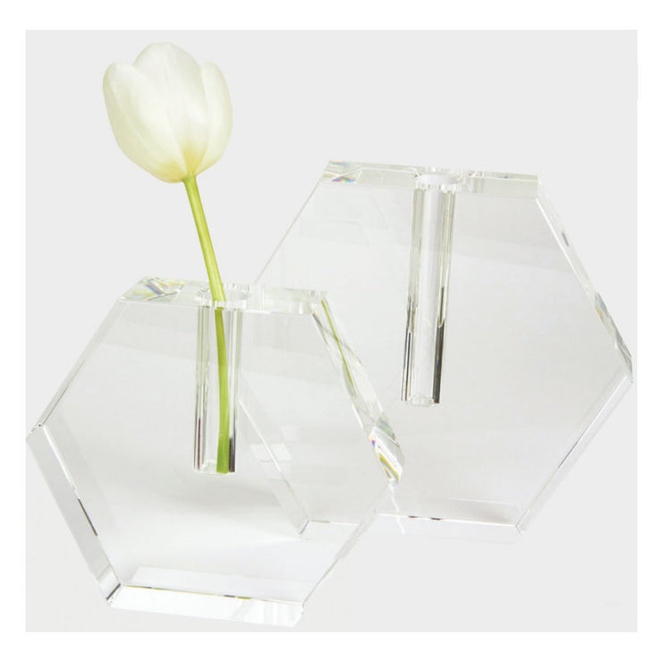Crystal Hex Flat Bud Vase- Large