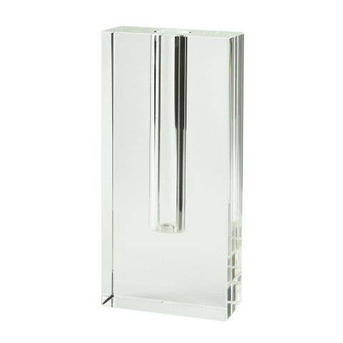 Crystal Glass Rect. Bud Vase- Tall