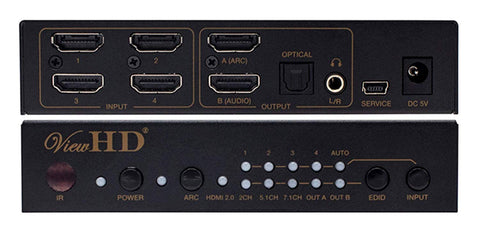 ViewHD Prosumer UHD HDMI 4X1 Switch with Audio Extraction | 18Gbps | 4K@60Hz | Dolby Vision & HDR | HDCP 2.2 | Model: VHD-U4X1AS