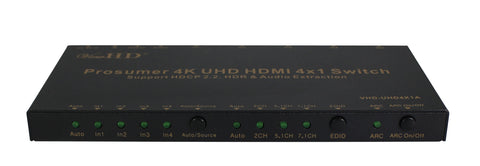 ViewHD Prosumer 4K UHD 18Gbps HDMI 4x1 Switch Support HDMI v2.0 | HDCP 2.2 | HDR & Dolby Vision | ARC | Audio Extraction: Optical Audio Output | RS232 | Model: VHD-UHD4X1A