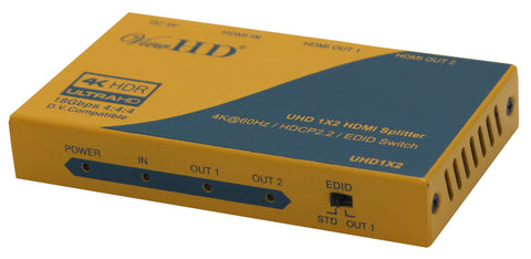 ViewHD Ultra HD | HDMI 2.0 | HDCP 2.2 | 4K@60Hz | 1x2 Splitter | One Input to Two Outputs | Support HDR and Dolby Vision | Model: UHD1X2