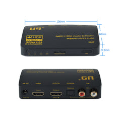 U9 ViewHD Latest HDMI v2.0 Audio Extractor |RCA L/R Stereo Analog Audio Output | SPDIF Toslink Optical Digital Audio Output Dolby Digital Plus | 4K@60Hz HDR Dolby Vision | HDCP 2.2 | ARC | Model: UAEP