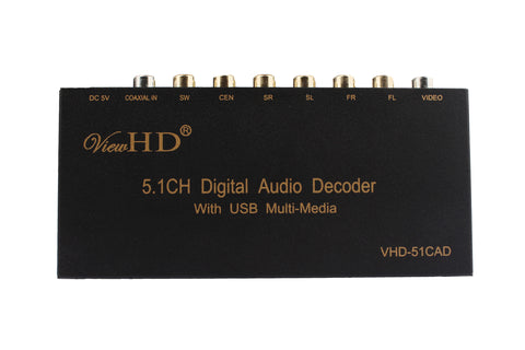 ViewDH 5.1CH Digital Audio to 6CH Analog or Stereo Audio Decoder with Integrated USB Music Player & On Screen Display | VHD-51CAD