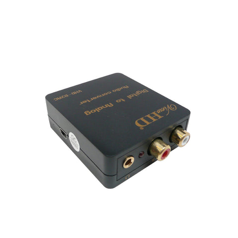ViewHD SPDIF Optical / Coaxial Stereo Digital to Analog Stereo Audio Converter Support Simultaneous 3.5mm Headphone + RCA L/R Outputs | VHD-D2AC