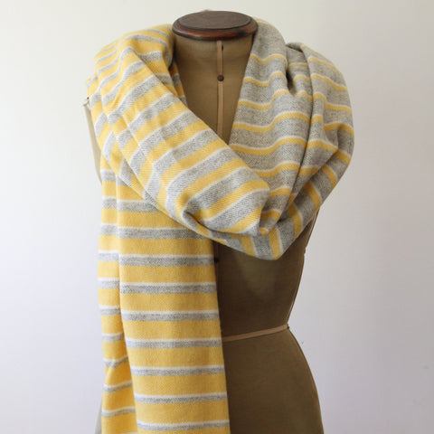 Lambs wool pashmina wrap - yellow and grey stripe