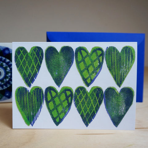 Hearts card - blue