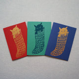 Cat in sock card - set of 3
