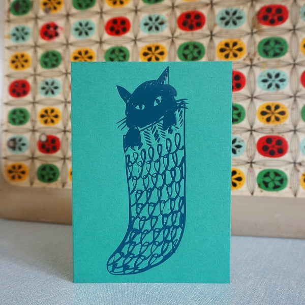Cat in sock card - emerald