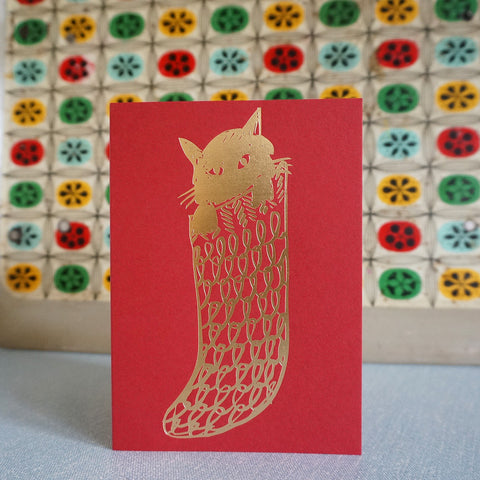 Cat in sock card - scarlet