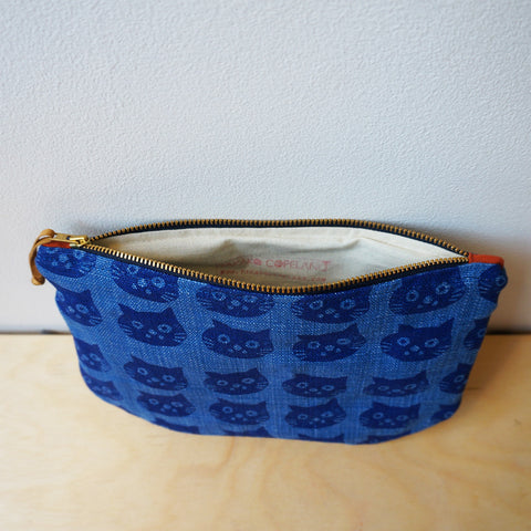 Cat zip purse - denim blue