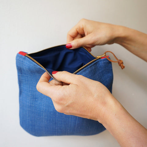 Linen clutch pouch - denim