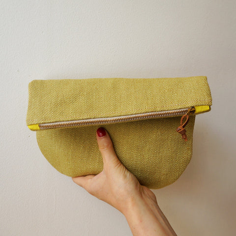 Linen clutch pouch - pear