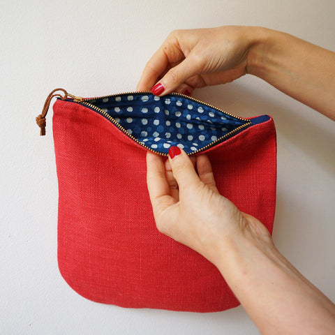 Linen clutch pouch - postbox red