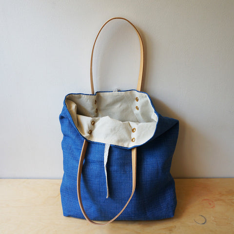 Linen tote - denim blue