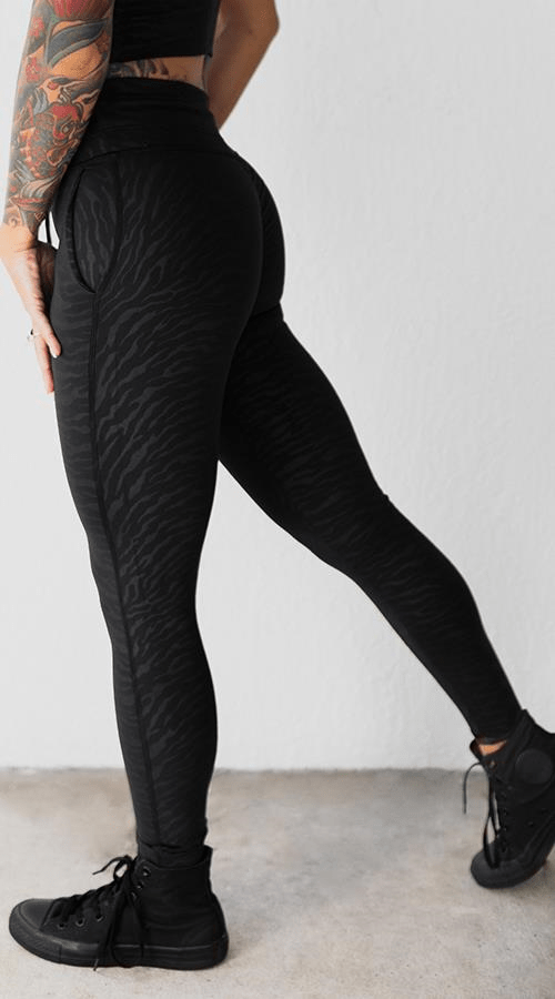 Power 7/8 Leggings in 'Black Zebra' - Celestial Bodiez Collective