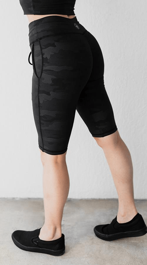 Power Bike Shorts in 'Black Camo' - Celestial Bodiez Collective