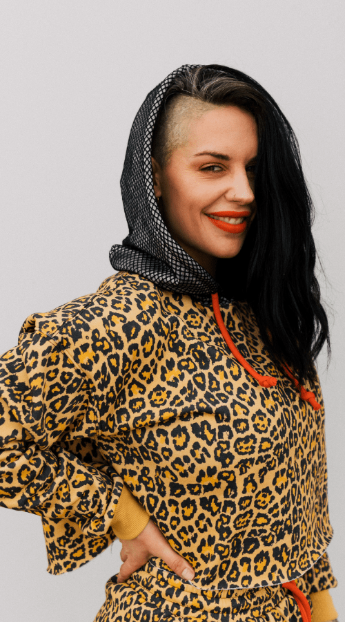 Good Vibe Hoodie in 'Rebel Leopard w/ Smoke Gray' - Celestial Bodiez Collective