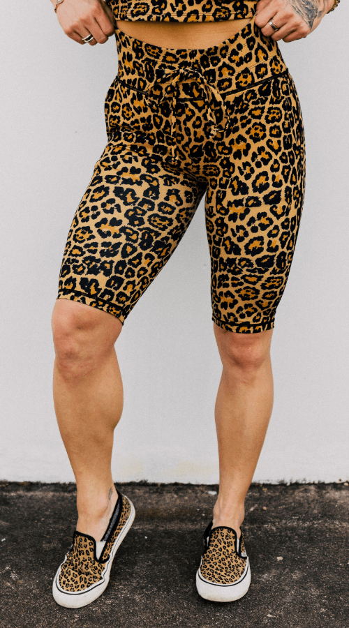 Power Bike Shorts in 'Rebel Leopard' - Celestial Bodiez Collective