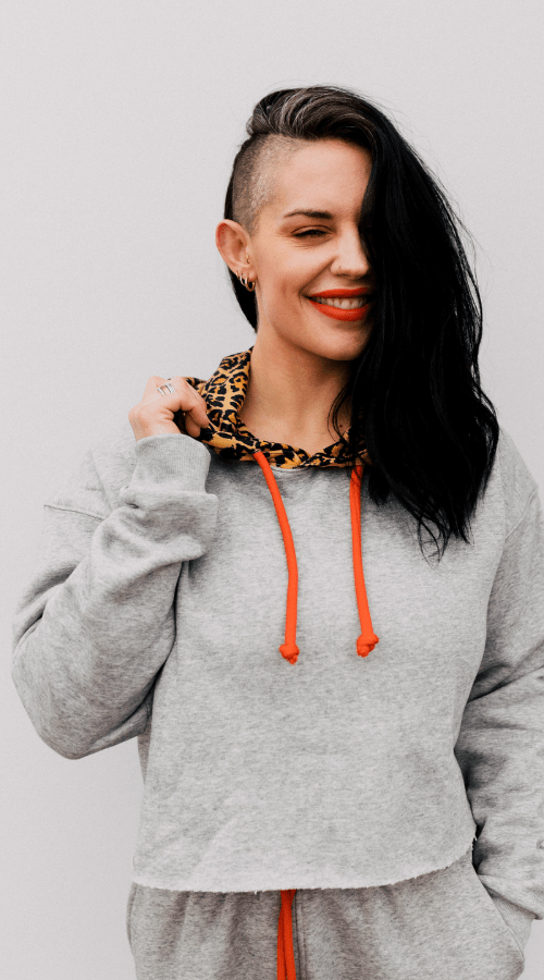 Good Vibe Hoodie in 'Cool Gray w/ Rebel Leopard Hood' - Celestial Bodiez Collective