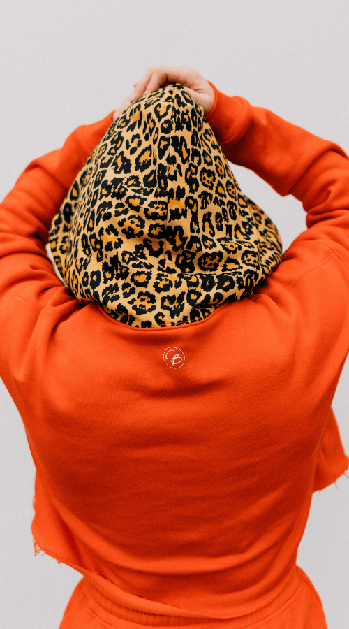 Good Vibe Hoodie in 'Fire Orange w/ Rebel Leopard' - Celestial Bodiez Collective