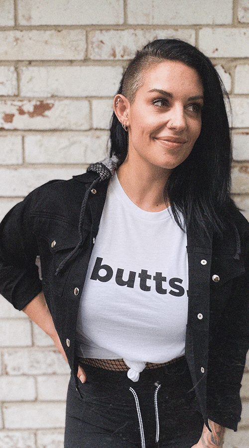 'Butts' Unisex Tee in White - Celestial Bodiez Collective